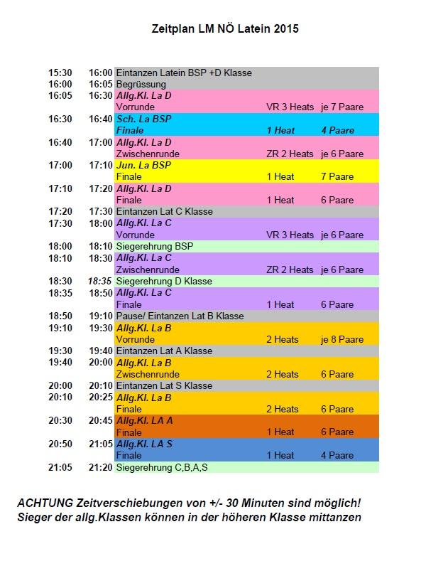 Zeitplan NÖ LM Lat 2015