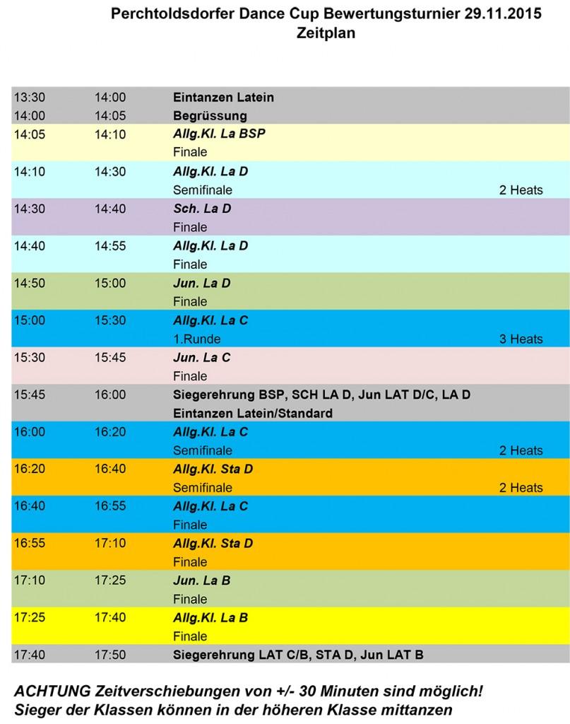 Zeitplan Einzel Turnier 2015